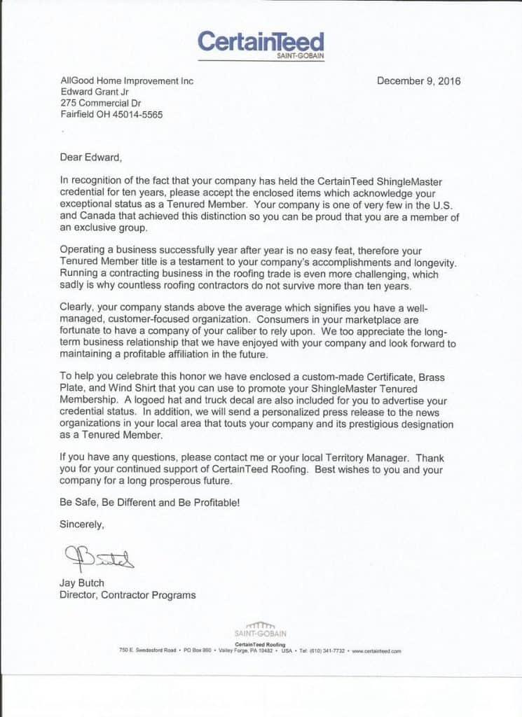 Tenured Member Letter Allgood Home Improvements